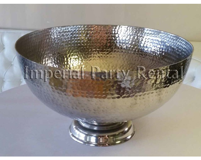 "Hammered Punch Bowl 17"" Diameter, 9"" Tall"