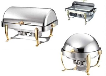 Stainless with Bras Color Trim Chafing Dishes
