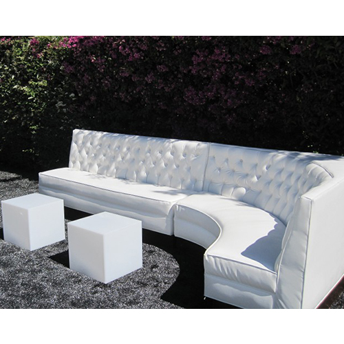 "White""L"" Shape Sectional with Two Acrylic White Cubes"