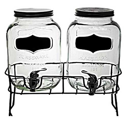 Two One Gallon Beverage Dispensers on Black Stand