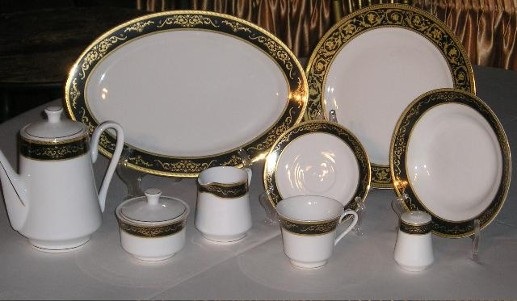 White China with 16th century Black and Gold Italian Pattern & Dinnerware Rentals | Los Angeles
